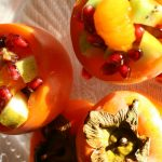 Fruit salad with persimmons, pears and kiwi