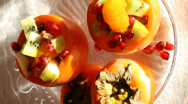 fruit salad with persimmon
