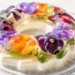 Spring jelly flower cake with white wine