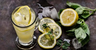 Lemonade with mint and basil