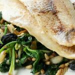 Haddock with spinach and cedar nuts