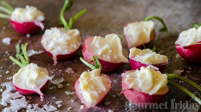 Radishes with butter and sea salt