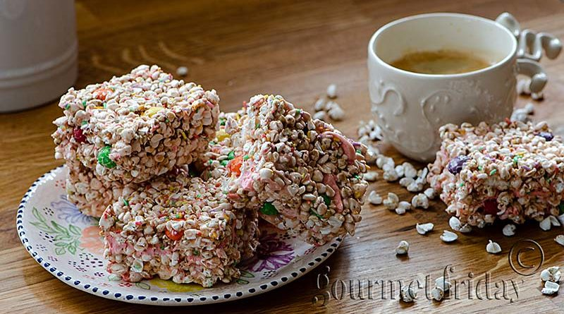 Colorful bars with buckwheat popcorn and marshmallows