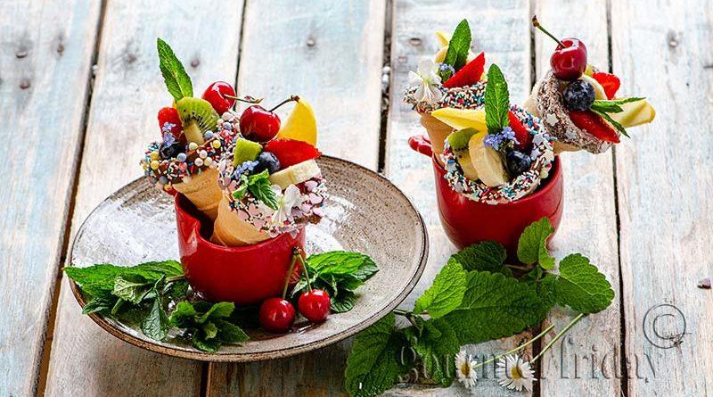 Fruit salad in ice cream cones