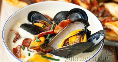 Mussels soup with bacon & white wine