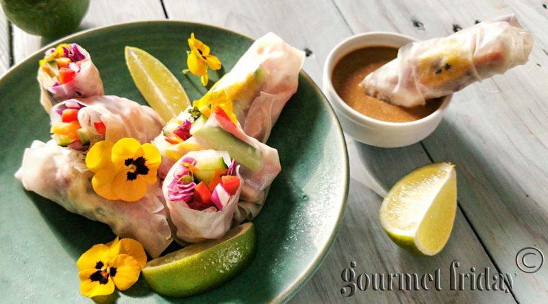 Пролетни рулца с тайландски фъстъчен сос