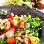 Chickpeas salad and tahini dressing