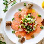 Salmon carpaccio with vinaigrette