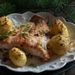 Baked salmon with Hasselback potatoes